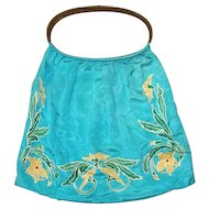 Late Teens Turquoise Silk Knitting Bag Purse Brocade Covered Handles