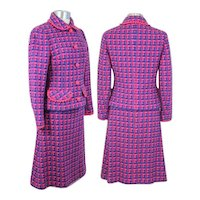 Vintage 1960s Pink & Blue Novelty Jigsaw Houndstooth Wool Suit XS