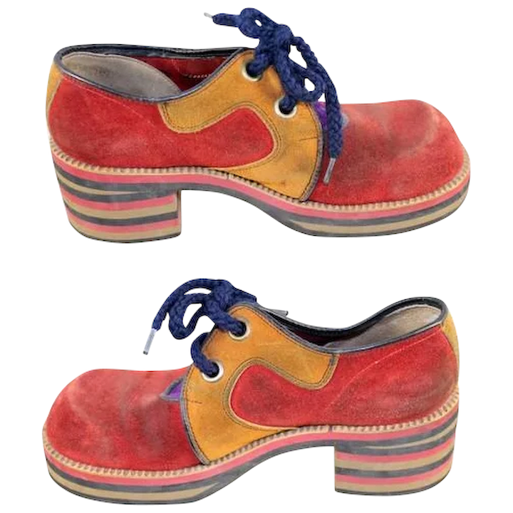 26347bb5447 Vintage 1970s Flagg Brothers Red   Mustard Suede Platform Shoes ...