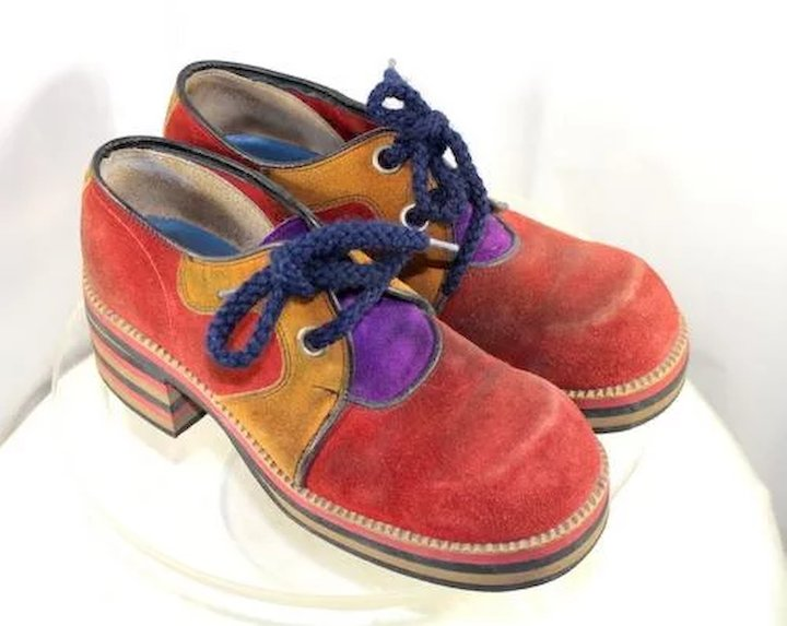 ee32cba3f7608 Vintage 1970s Flagg Brothers Red & Mustard Suede Platform Shoes