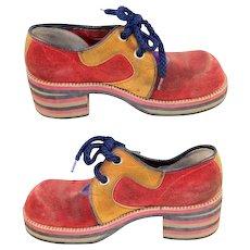Vintage 1970s Flagg Brothers Red & Mustard Suede Platform Shoes
