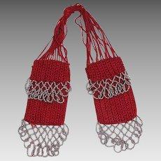 Vintage c.1920 Steel-beaded Red Silk Knit Miser's Purse