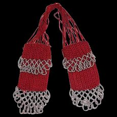 Vintage c.1920 Steel-beaded Red Silk Knit Miser's Purse