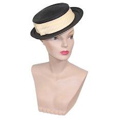 Vintage 40s/50s Robinelle Black Straw Sailor Hat w/Ivory Hatband