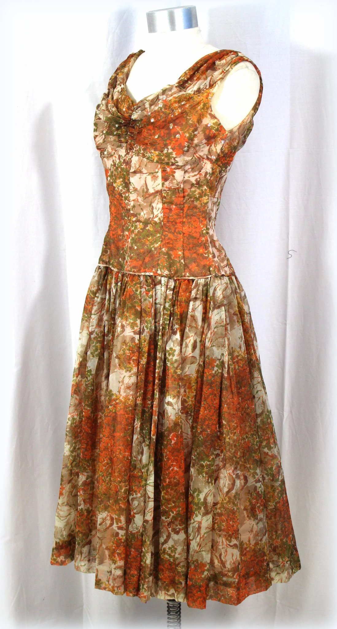 Vintage 1950s Floral Chiffon Garden Party Dress W Floating