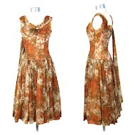 Vintage 1950s Floral Chiffon Garden Party Dress w/Floating Panel XS
