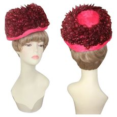 Vintage 1960s Carnation Pink & Pheasant Feathers Mod Derby Hat