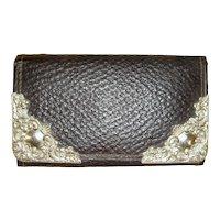 1900s Edwardian Leather Wallet & Card Case Wallet w/Corner Mounts