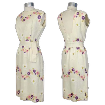 Vintage 1960s Givenchy Flower Garland Embroidered Sheath Dress S