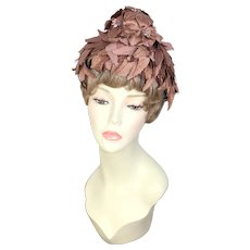 Vintage 1950s Sylvan Tiara Brown Silk Leaves & Flowers Pixie Toque Hat