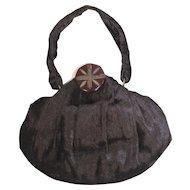 Vintage 1940s Brown Panné Velvet Evening Bag or Purse w/Bakelite Clasp