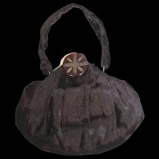 Vintage 1940s Brown Panné Velvet Evening Bag or Purse w/Bakelite Clasp