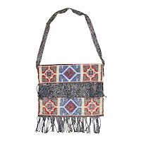 1920s Deco Pattern Steel & Glass Beaded Fringed Miniature Purse