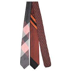 Vintage c.1960 Trio of Autumnal Skinny Ties