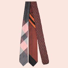 Vintage c.1960 Trio of Skinny Ties