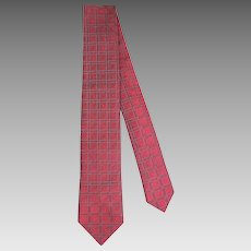 Vintage 1960s Wembley Iridescent Red Geometric Brocade Skinny Tie