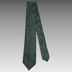 Vintage c.1960 Cutter Cravats Green & Black Silk Geometric Skinny Tie