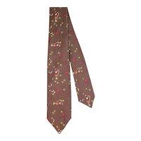 Vintage 1960s Beale & Inman Novelty Golf Print Skinny Tie
