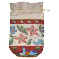 Antique Victorian Beaded Reticule Purse w/ Flowers & Village Scene