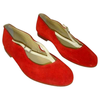 Vintage 1950s Red Suede Racing Stripe Ballet Flats Shoes Sistina Roma 6.5