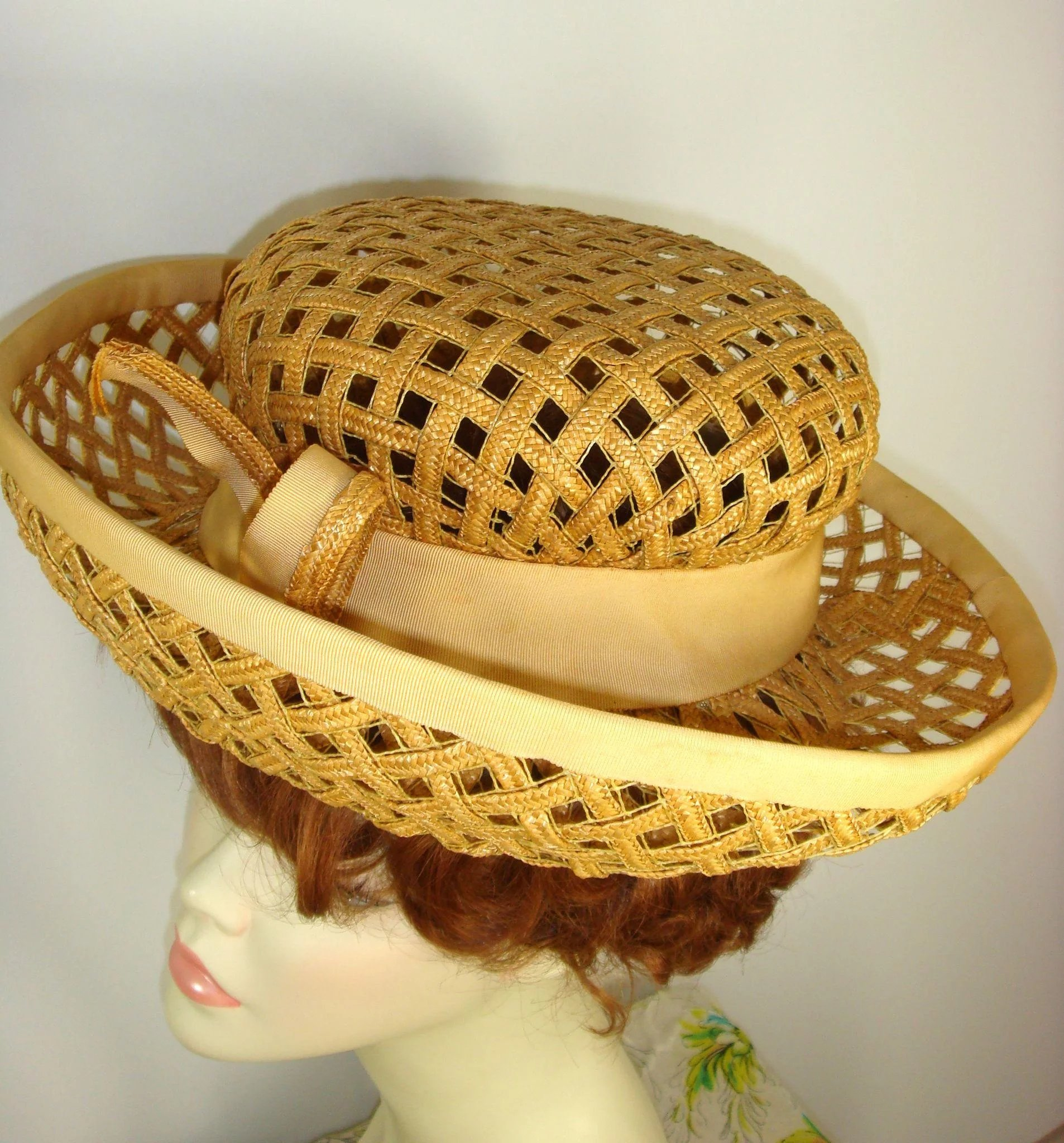 c1370c09e18f4 Vintage 1960s Jack McConnell Straw Lattice Mod Breton Hat. Click to expand