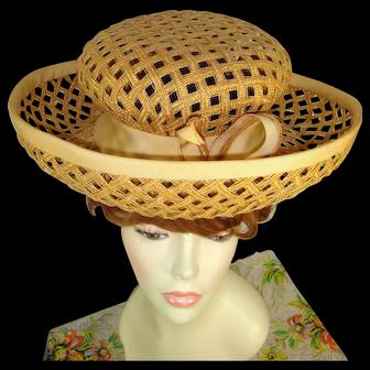 Vintage 1960s Jack McConnell Straw Lattice Mod Breton Hat