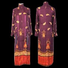Vintage 1970 Valentino Mulberry Silk Paisley Caftan Gown w/Pocket Tassels XS/S