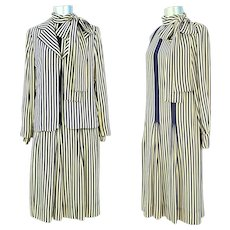 Vintage 1980s Galanos Navy & Cream Striped Silk Dress & Jacket XS/S