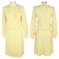 Vintage 1970s Sonia Rykiel Ivory Popcorn Knit Sweater & Skirt Set XS