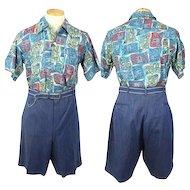 Vintage 1940s Sulka Chambray Blue Herringbone Wool Shorts L