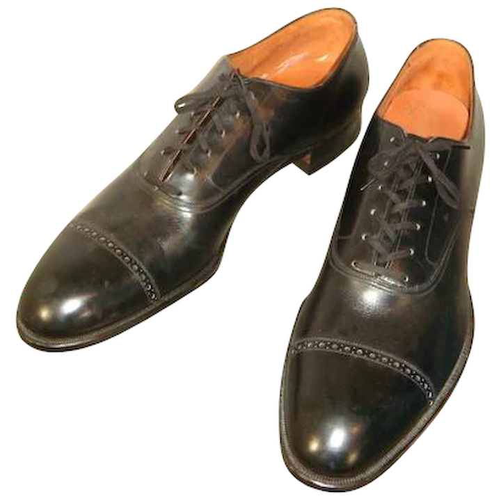 02dedaa67e3a6 NOS Vintage 1950s Black Leather De Luxe Bostonians Dress Oxfords 11 N
