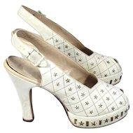 Vintage 40s Star-Studded White Suede Peeptoe Platform Shoes w/Provenance