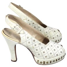 Vintage 40s Star-Studded White Suede Peeptoe Platform Shoes w/Provenance