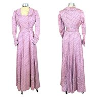 Edwardian 1900s Purple & White Floral Silk Foulard Dress w/Black Piping XS