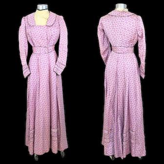 Edwardian 1900s Purple & White Floral Silk Foulard Dress w/Black Piping XS