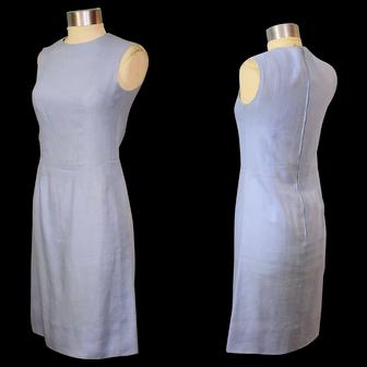 Vintage 1960s Lanz Original Sky Blue Linen & Rayon Sheath Dress XS/S