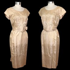 Vintage NOS 1960s Champagne Organza Satin Wedding or Cocktail Dress M/L