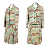 Vintage 1960s Tiffeau & Busch 3-Piece Checked Wool Tweed Spring Suit XS