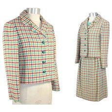 Vintage 1960s Tiffeau & Busch Wool Tweed Spring Suit XS