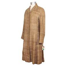 NOS Vintage 1960s Vera Maxwell Natural Silk Tussah Coat