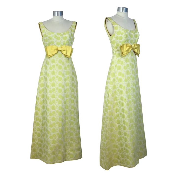 9efc402334f0 Vintage 60s Brocade Empire Waist Gown w/Chartreuse Roses XS/S : Cur.io  Vintage | Ruby Lane