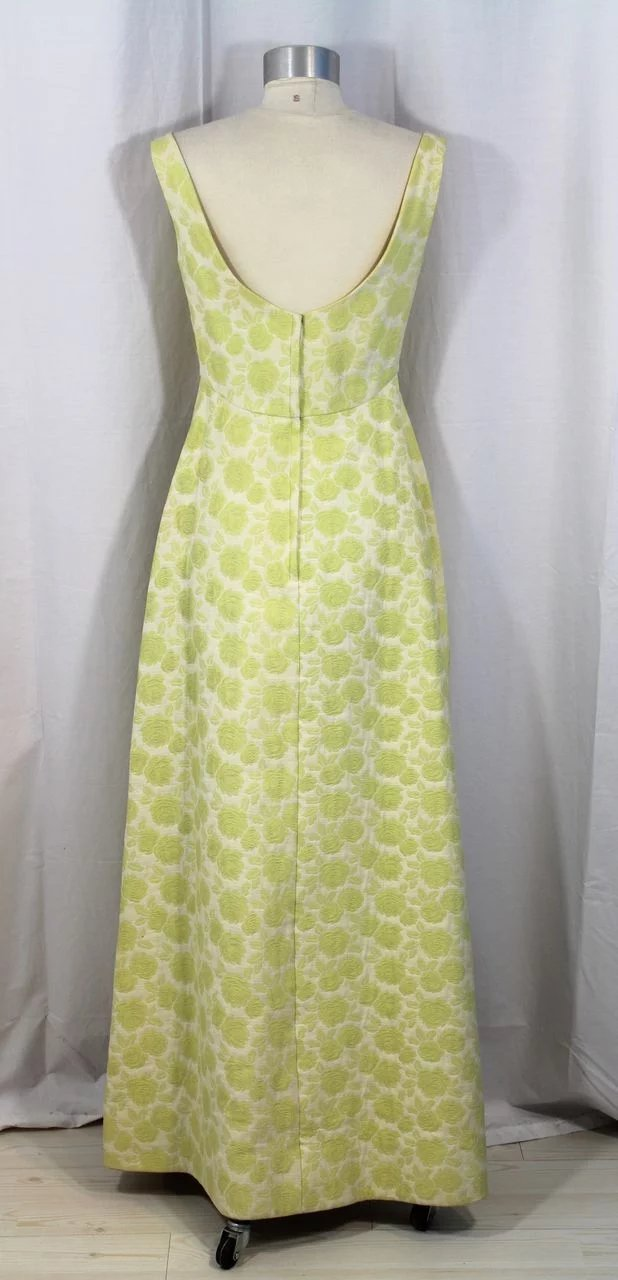 ecf7da85fbfc Vintage 60s Brocade Empire Waist Gown w/Chartreuse Roses XS/S. Click to  expand