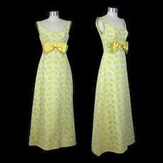 Vintage 60s Brocade Empire Waist Gown w/Chartreuse Roses XS/S