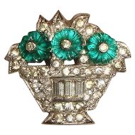 Vintage 1930s Deco Rhinestone Flower Basket Dress Clip w/Fruit Salad Stones