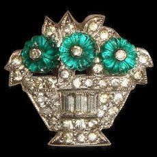 Vintage 1930s Deco Rhinestone Flower Basket Dress Clip w/Fruit Salad Stones