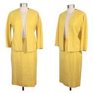 Vintage 1960s Vera Maxwell Daffodil Yellow Tweed Suit  XS