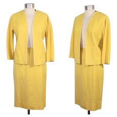 Vintage 1960s Vera Maxwell Daffodil Yellow Tweed Suit  XS