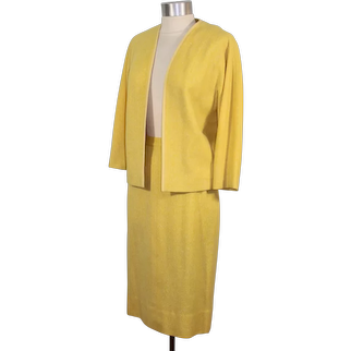 Vintage 60s Vera Maxwell Daffodil Yellow Tweed Skirt Suit XS