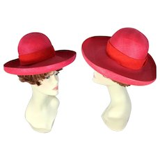 Vintage 60s Jacques Heim Rose Red Straw Wide Brim Hat