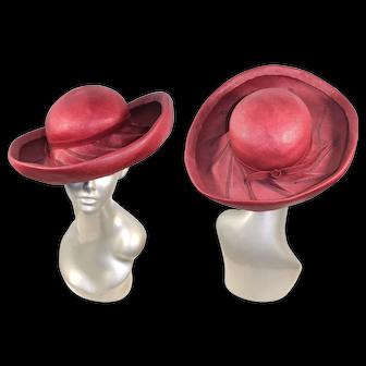 Vintage 1960s Hand-Labelled Red Buntal Straw Wide Brim Breton Hat
